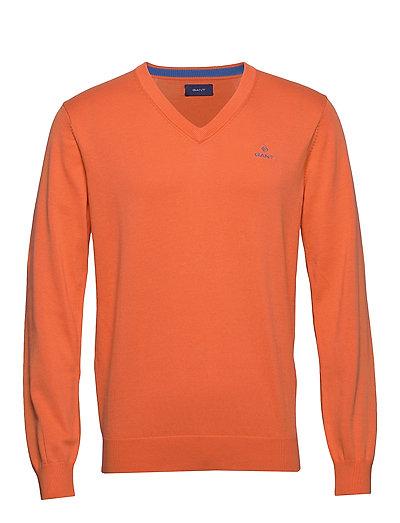 Classic Cotton V-Neck Strickpullover V-Ausschnitt Orange GANT
