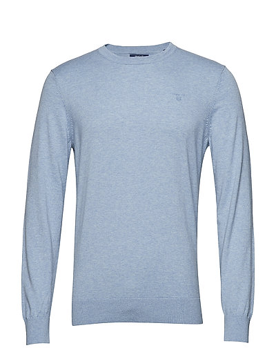 D1. Cotton Cashmere C-Neck Strickpullover Rundhals Blau GANT