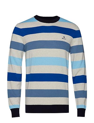 D1. Multi Colored Stripe Crew Strickpullover Rundhals Blau GANT