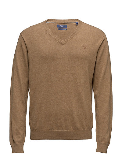 Light Weight Cotton V-Neck Strickpullover V-Ausschnitt Braun GANT