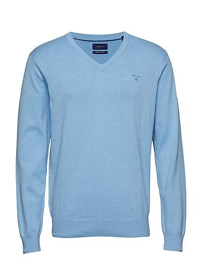 Light Weight Cotton V-Neck Strickpullover V-Ausschnitt Blau GANT