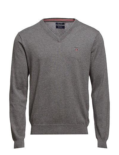 Cotton Wool V-Neck Strickpullover V-Ausschnitt Grau GANT
