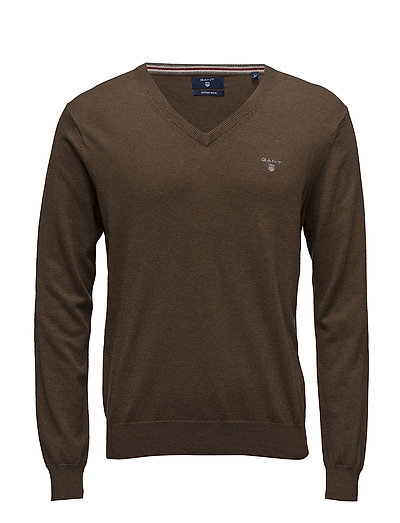 Cotton Wool V-Neck Strickpullover V-Ausschnitt Braun GANT