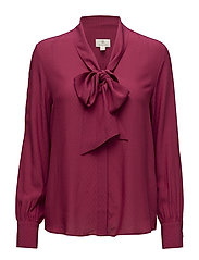 G3. DOBBY BOW BLOUSE - RASPBERRY RED