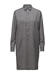 G1. WOOL SHIRT DRESS - ASPHALT