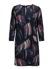G1. PRINTED CITY LIGHTS SHIFT DRESS - MARINE