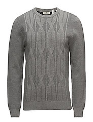 G1. CABLE KNIT CREW - GREY MELANGE