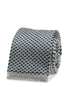 G. TWO TONE KNITTED TIE - SILVER SAND