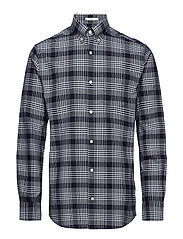 R2. HEAVY OXFORD CHECK REG BD - EVENING BLUE
