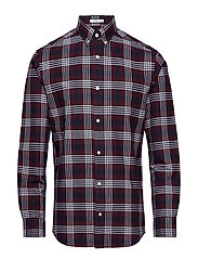 R2. HEAVY OXFORD CHECK REG BD - MAHOGNY RED