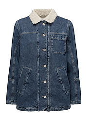 R1. THE DENIM SHEARLING JACKET - MID BLUE