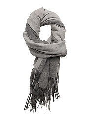R. 2 TONE BIG WOOL SCARF - CHARCOAL MELANGE