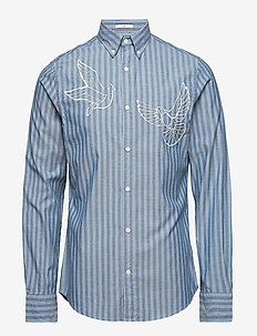 R1. THE EMBROIDERED DOVES SLIM BD - SALTY SEA