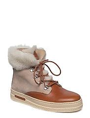 Maria Mid lace boot - COGNAC/BONE BEIGE