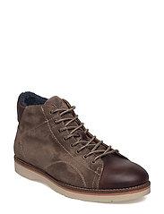 Huck Mid lace boot - DARK BROWN/GRAY