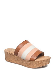 Judith Wedge - CORAL PINK/TAN/CREAM