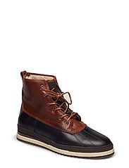 Sheriff Mid lace boot - BLACK/COGNAC