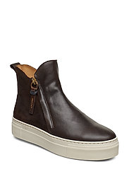Marie Mid Zip boot - DARK BROWN