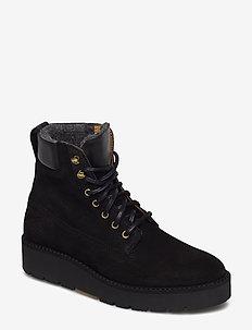 Casey Mid lace boot - niski obcas - black