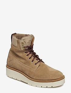 Casey Mid lace boot - niski obcas - copper+cognac