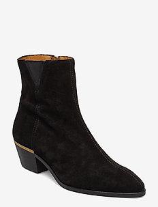 Lizzi Mid Zip boot - wysoki obcas - black