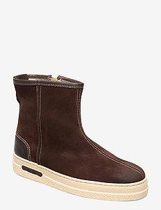 Maria Mid Zip boot - platta ankelboots - dark brown