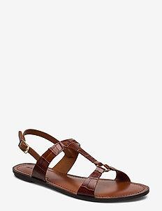 Beechum Sandal - flate sandaler - cognac crocco optic