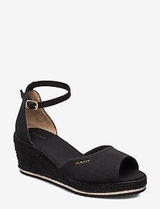 Wedgeville Plateau Sandal - heeled espadrilles - black