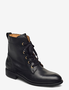 Ainsley Mid lace boot - flat ankle boots - black