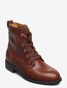 Ainsley Mid lace boot - flat ankle boots - cognac