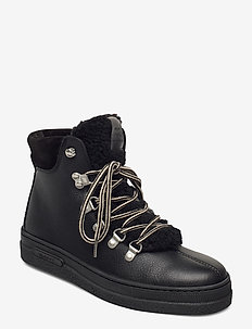 Breonna Mid lace boot - flat ankle boots - black