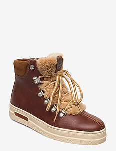 Breonna Mid lace boot - flat ankle boots - cognac