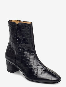 Ellar Mid Zip boot - heeled ankle boots - blk croco optic