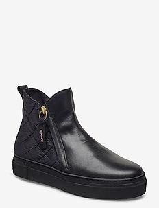 Vanna Mid Zip boot - flate ankelstøvletter - black