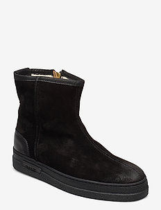 Breonna Mid Zip boot - flat ankle boots - black