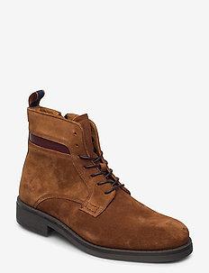 Brookly Mid lace boot - veter schoenen - cognac
