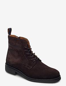 Brookly Mid lace boot - veter schoenen - dark brown