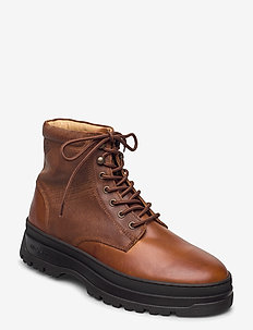 St Grip Mid lace boot - nauhalliset - cognac