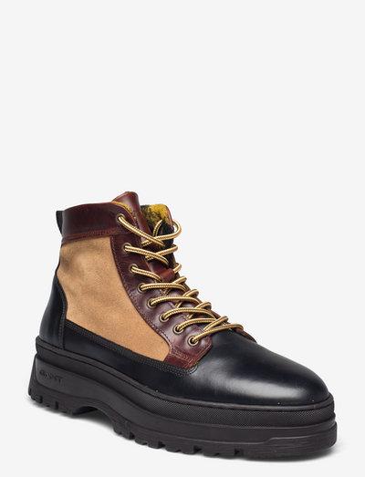 St Grip Mid Lace Boot - laced boots - warm khaki/blk/cognac