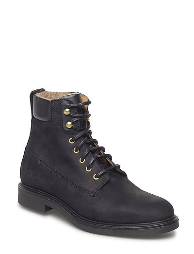 Ashley Mid Lace Boot Shoes Boots Ankle Boots Ankle Boots Flat Heel Schwarz GANT