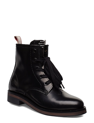 Malin Mid Lace Boot Shoes Boots Ankle Boots Ankle Boots Flat Heel Schwarz GANT