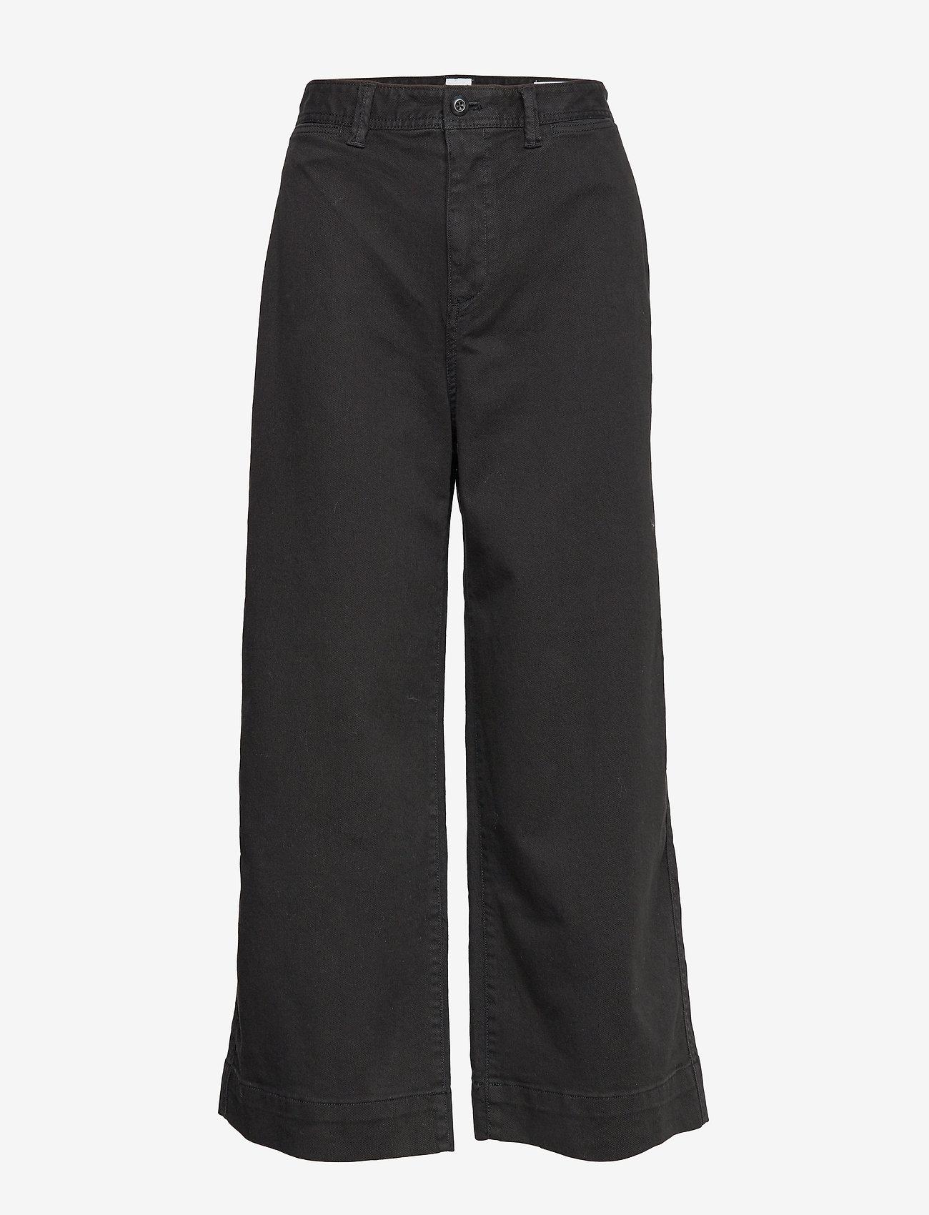 GAP - High Rise Wide-Leg Crop Khakis - bukser med brede ben - true black v2 - 0