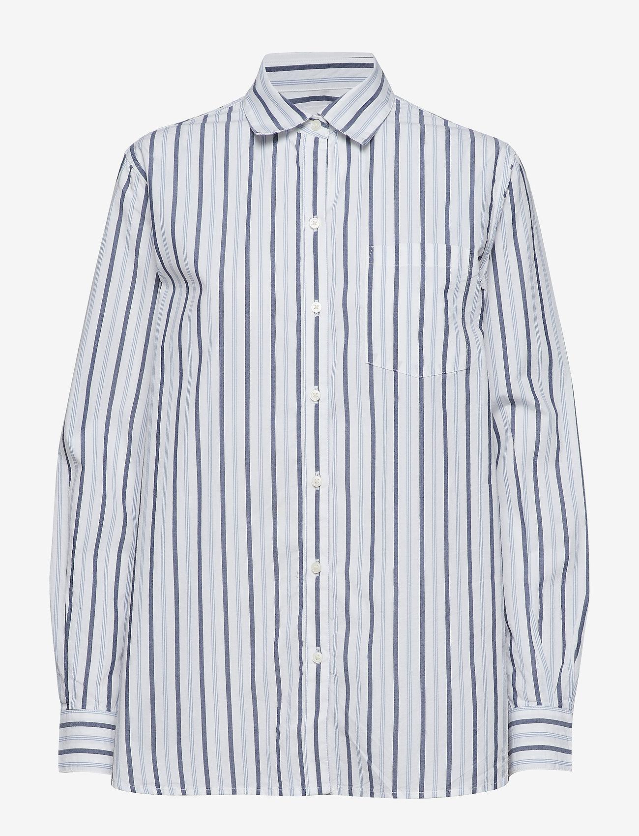 GAP - Stripe Boyfriend Shirt in Poplin - pitkähihaiset paidat - navy stripe