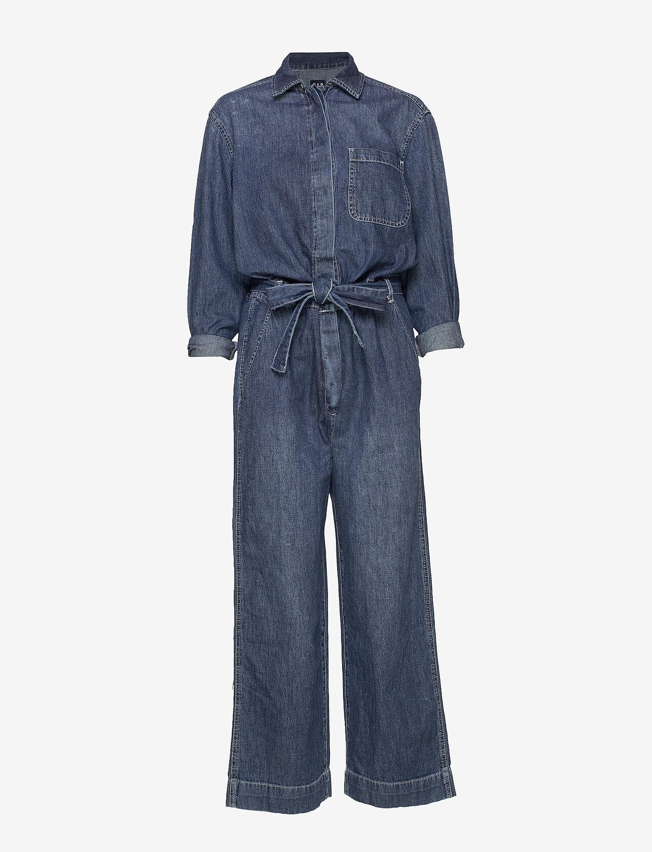 GAP - Utility Tie-Belt Jumpsuit - buksedragter - medium indigo 8 - 0