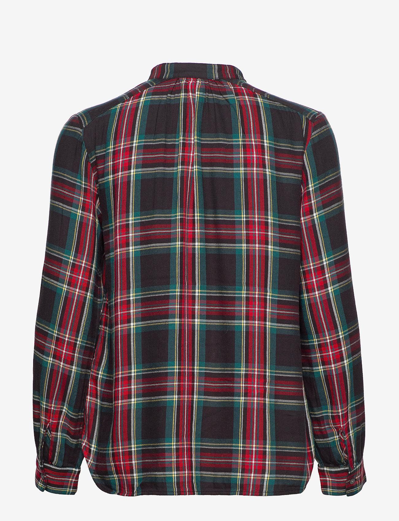 GAP - Plaid Tie-Neck Blouse - long-sleeved shirts - red tartan plaid - 1