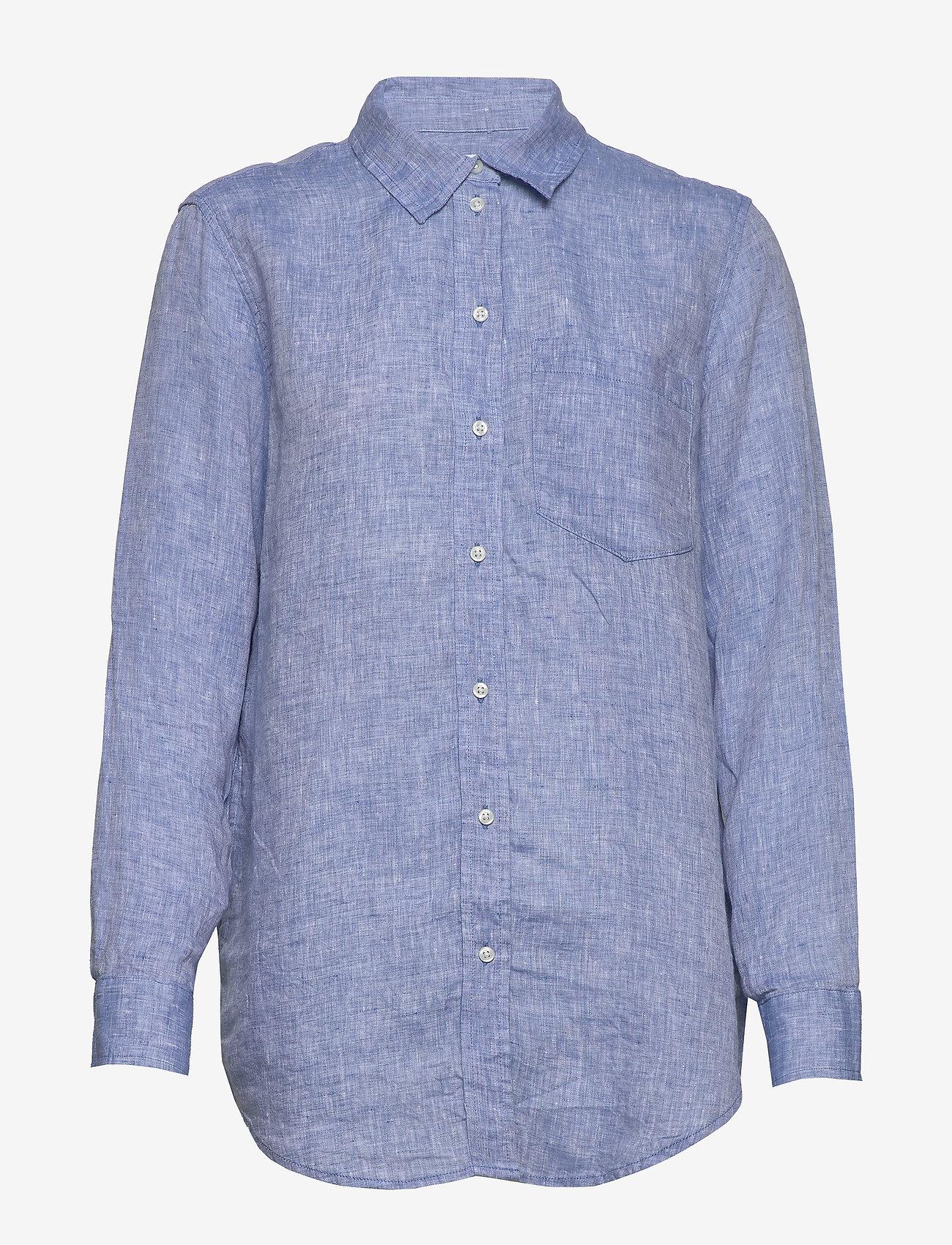 Gap Boyfriend Shirt In Linen - Blusar & Skjortor Light Blue
