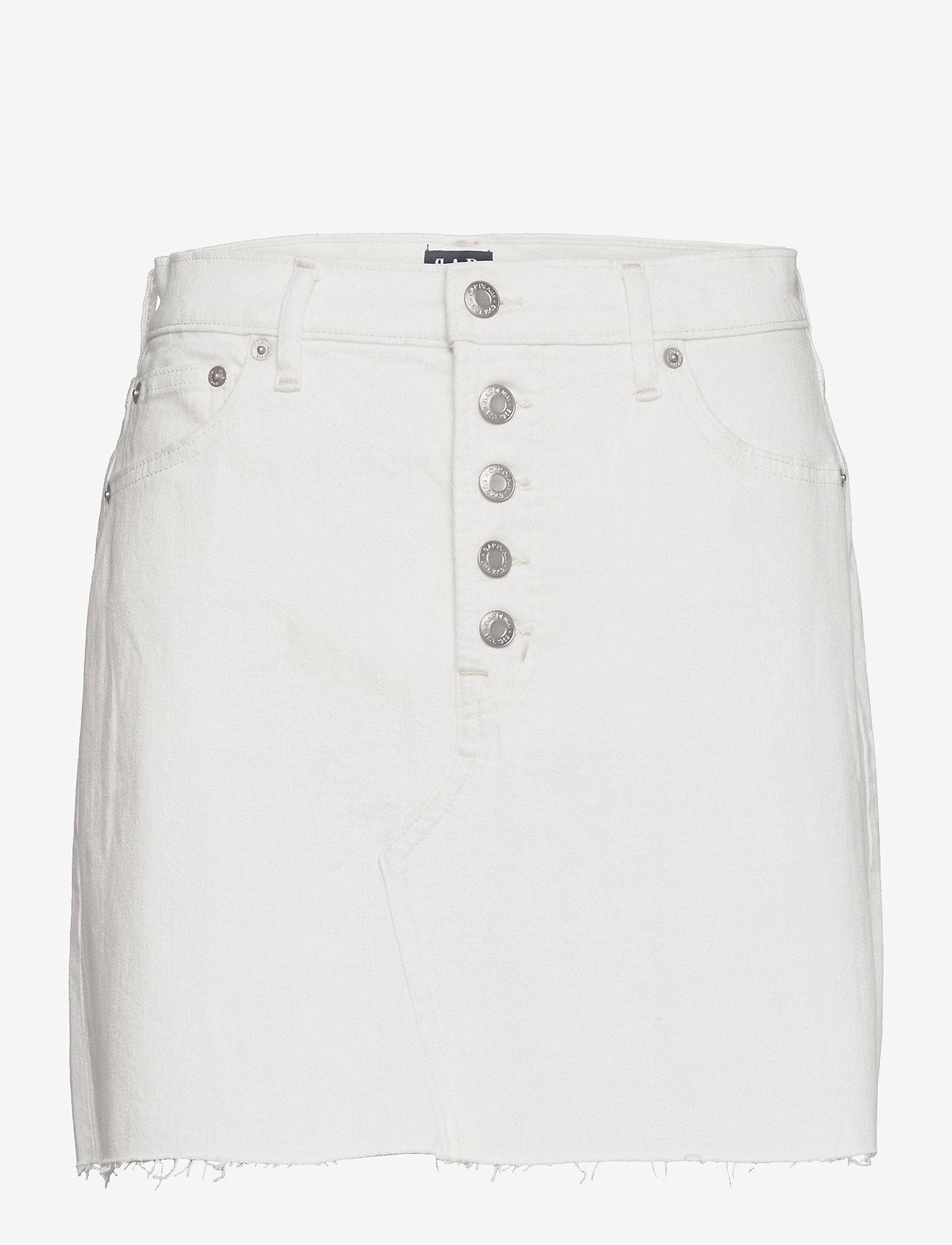 GAP - High Rise Denim Skirt with Washwell™ - jeanskjolar - ecru - 0