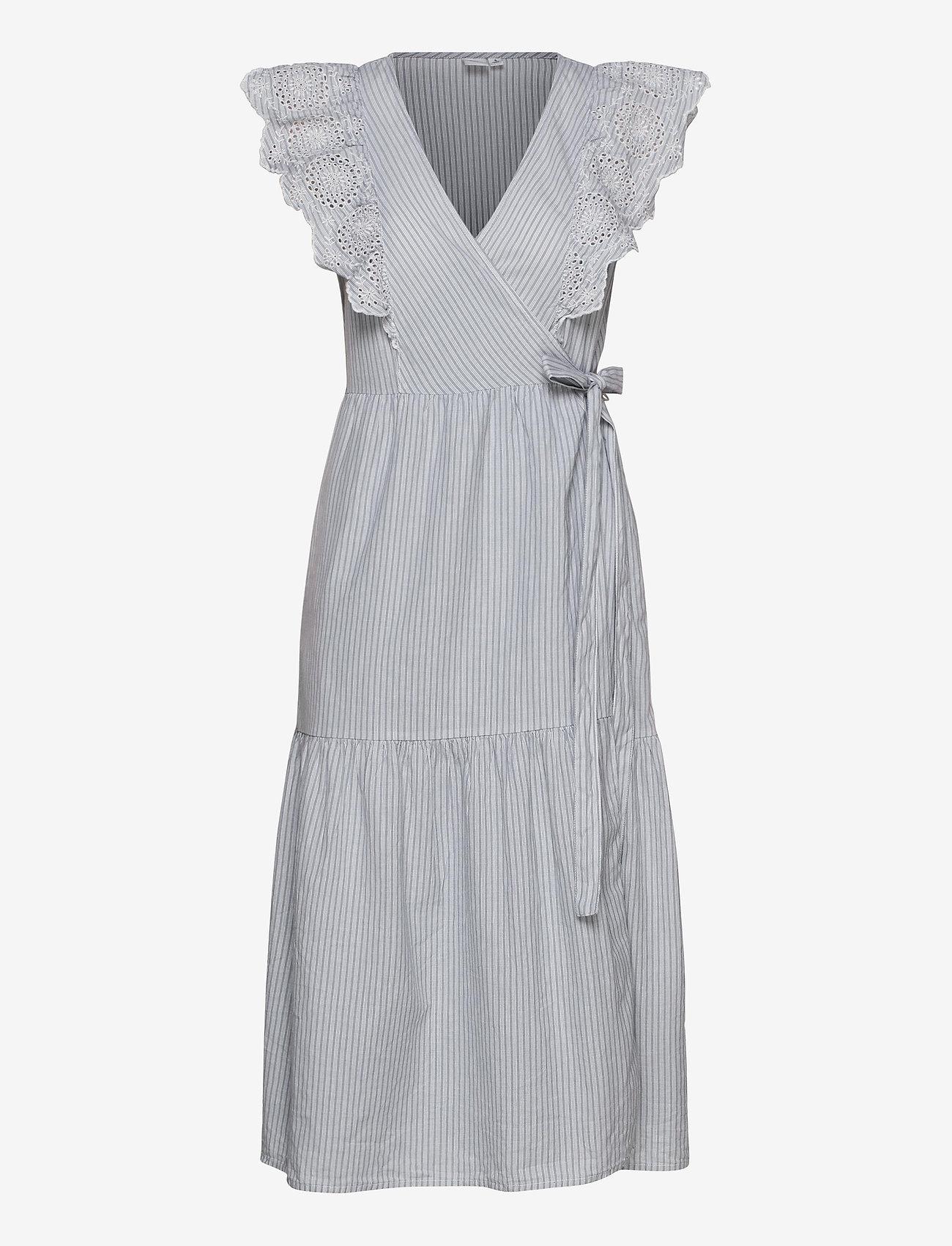 GAP - Flutter Sleeve Midi Wrap Dress - wrap dresses - blue/white stripe - 0