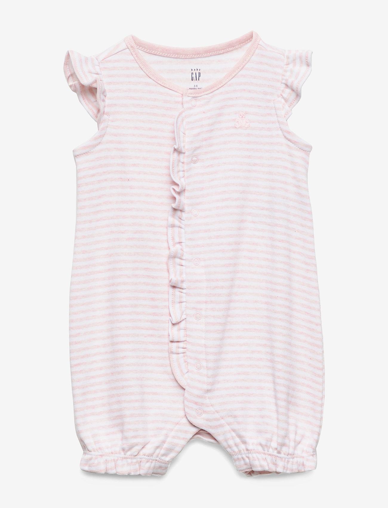 GAP - Baby Ruffle Brannan Bear Shorty One-Piece - krótki rękaw - light pink hthr 20874 - 0