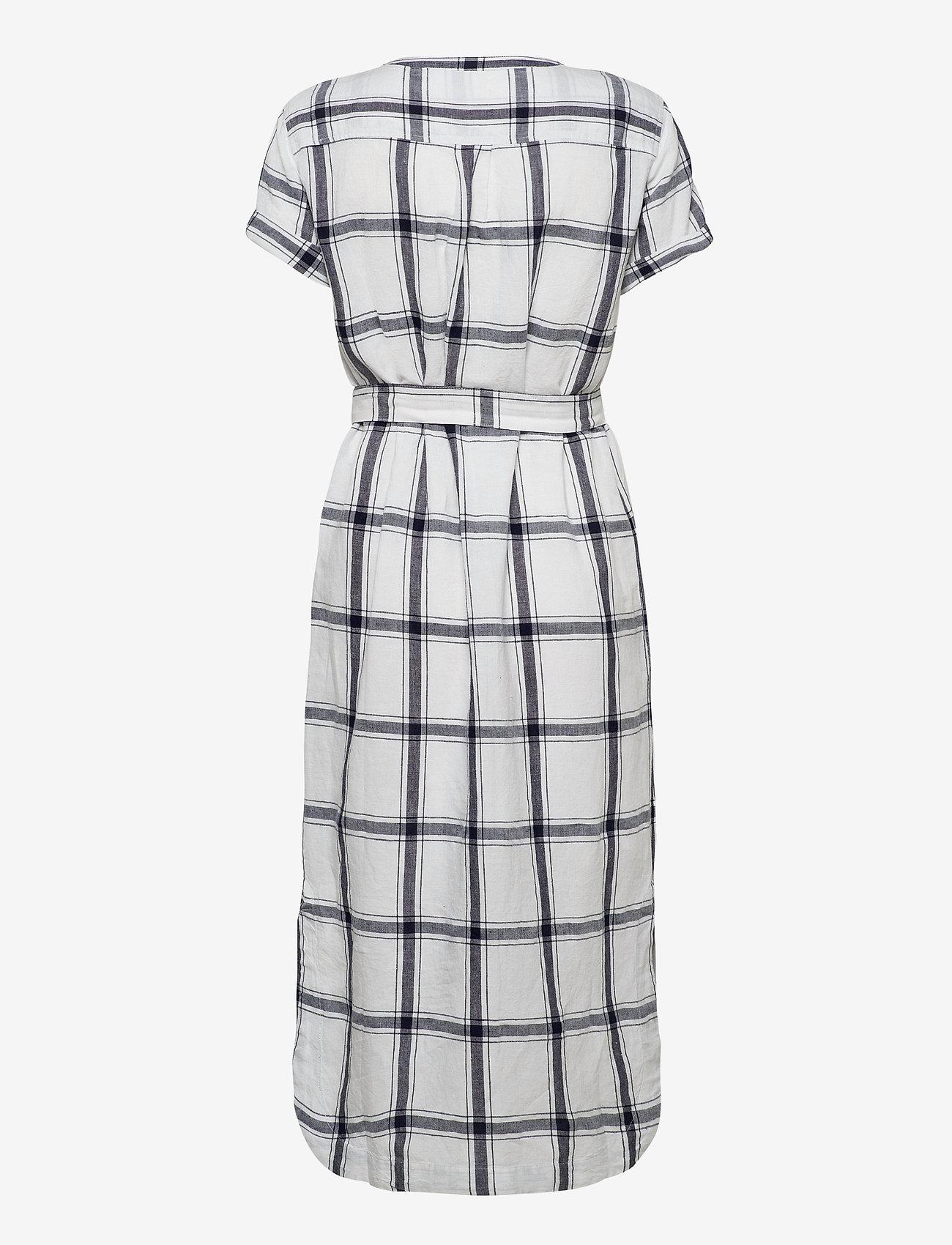 GAP - Midi Shirtdress in Linen-Cotton - midi dresses - navy windowpane - 1